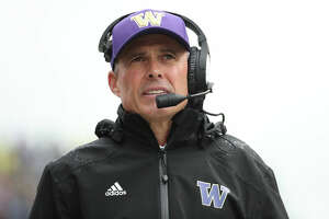 SEATTLE, WASHINGTON - OCTOBER 19: Head Coach Chris Petersen of the Washington Huskies looks on against the Oregon Ducks in the second quarter during their game at Husky Stadium on October 19, 2019 in Seattle, Washington. (Photo by Abbie Parr/Getty Images)
