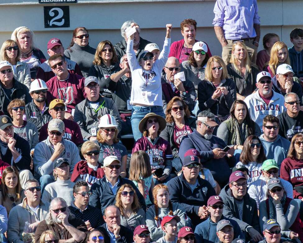The Union College fans did not like a call during a game against St. Lawrence at Union College on Saturday, Oct. 19, 2019 (Jim Franco/Special to the Times Union.)