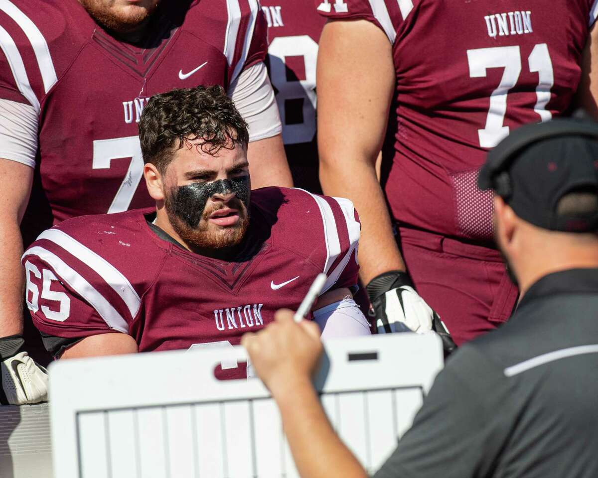 Union College offensive lineman Chris Katchadurian goes over plays during a game against St. Lawrence on Saturday, Oct. 19, 2019 (Jim Franco/Special to the Times Union.)