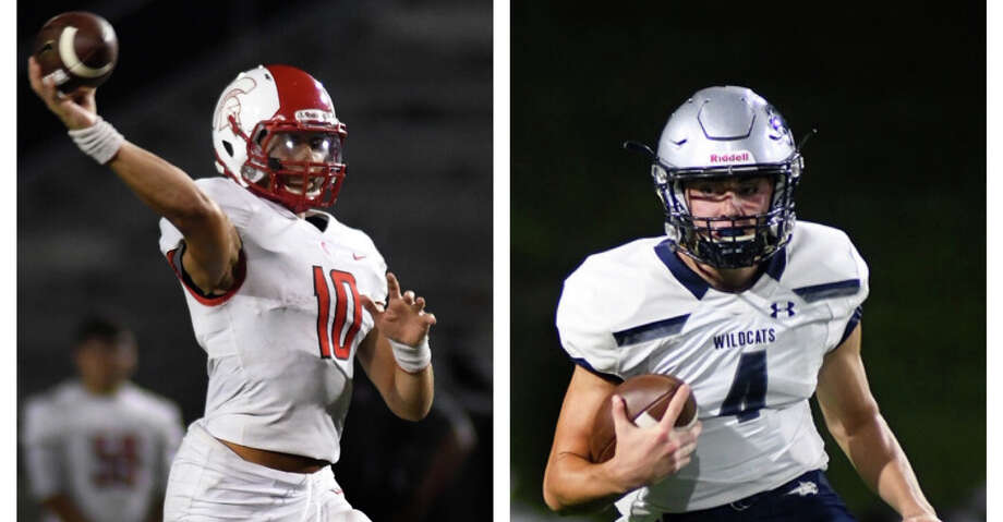File photos of Cypress Lakes quarterback Sofian Massoud and Tomball Memorial quarterback Colton Marwill. Photo: Jerry Baker