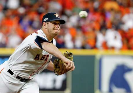 Houston Astros starting pitcher Brad Peacock (41) pitches during the first inning of Game 6 of the American League Championship Series at Minute Maid Park in Houston on Saturday, Oct. 19, 2019.