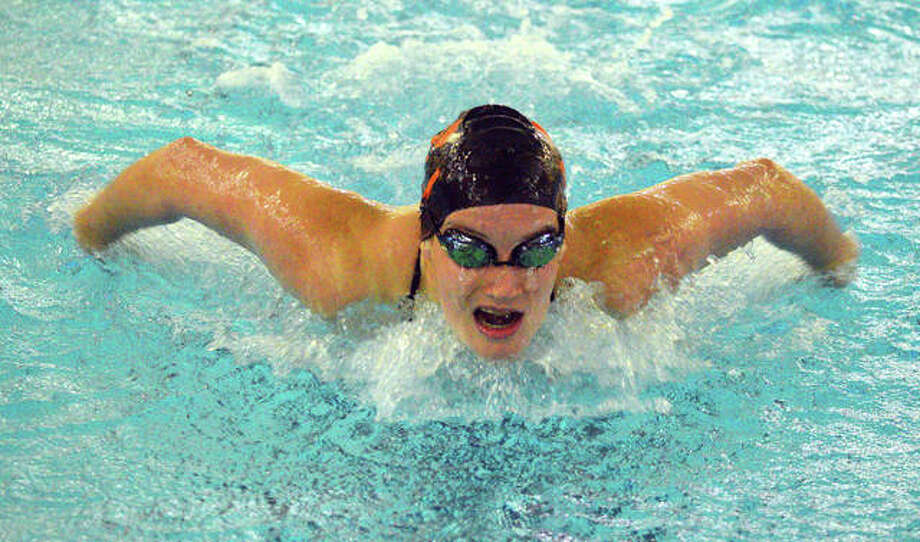 Edwardsville's Josie Bushell swims in the 400-yard individual medley during Saturday's Swim for HOPE Invite at Chuck Fruit Aquatic Center. Photo: Scott Marion/The Intelligencer