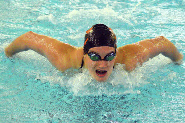 Edwardsville's Josie Bushell swims in the 400-yard individual medley during Saturday's Swim for HOPE Invite at Chuck Fruit Aquatic Center.