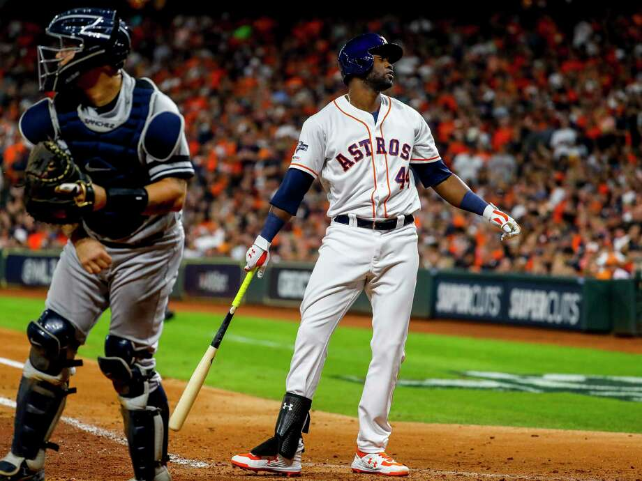 Houston Astros designated hitter Yordan Alvarez (44) strikes out during the fifth inning of Game 6 of the American League Championship Series at Minute Maid Park in Houston on Saturday, Oct. 19, 2019. Photo: Brett Coomer, Staff Photographer / © 2019 Houston Chronicle