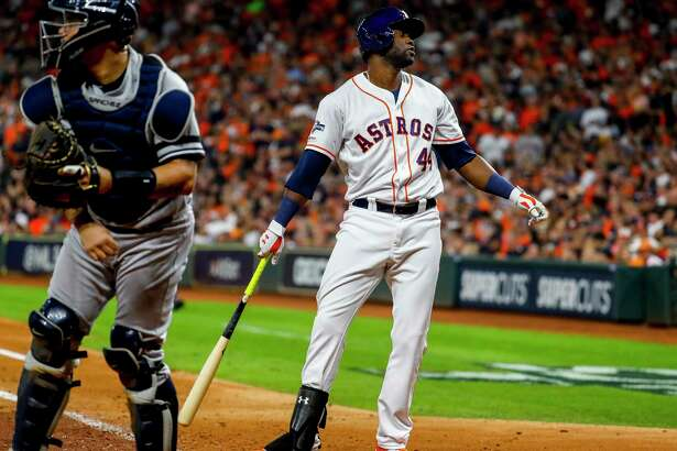 Houston Astros designated hitter Yordan Alvarez (44) strikes out during the fifth inning of Game 6 of the American League Championship Series at Minute Maid Park in Houston on Saturday, Oct. 19, 2019.