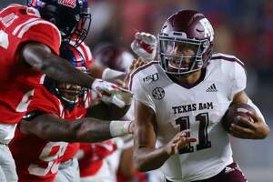 OXFORD, MISSISSIPPI - OCTOBER 19: Kellen Mond #11 of the Texas A&M Aggies runs with the ball during the second half against the Mississippi Rebels at Vaught-Hemingway Stadium on October 19, 2019 in Oxford, Mississippi. (Photo by Jonathan Bachman/Getty Images)