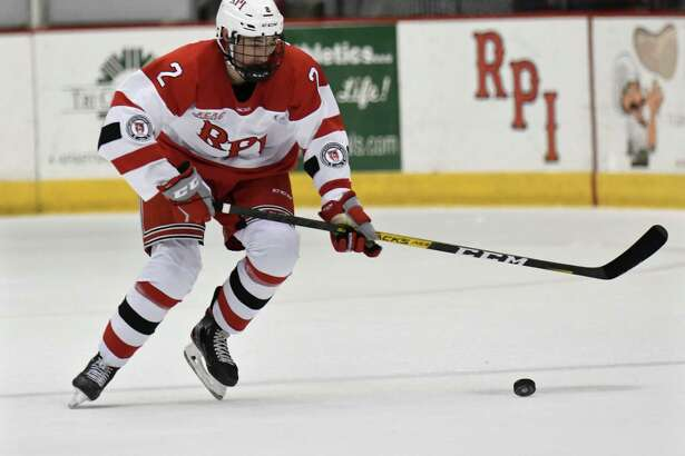 Rensselaer Polytechnic Institute defenseman Simon Kjellberg (2) moves the puck against Canisius during the second period of an NCAA college hockey game Saturday, Oct. 19, 2019, in Troy, N.Y. (Hans Pennink / Special to the Times Union)