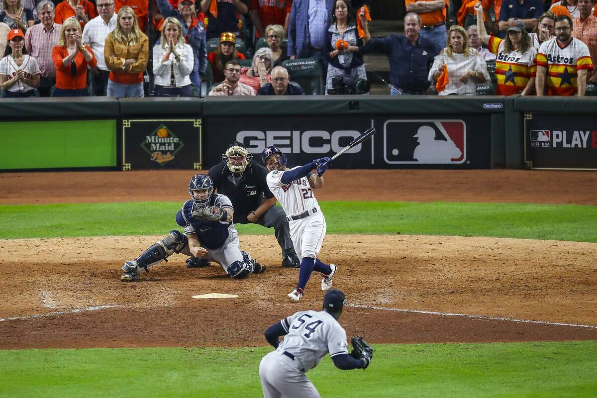 Altuve's walk-off sends Astros to World Series Astros second baseman Jose Altuve (27) hit a game-winning, two-run, walk-off home run to win Game 6 of the American League Championship Series in the ninth inning at Minute Maid Park in Houston on Saturday, Oct. 19.