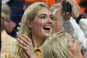 HOUSTON, TEXAS - OCTOBER 19:  Kate Upton celebrates the Houston Astros 6-4 win in game six of the American League Championship Series against the New York Yankees at Minute Maid Park on October 19, 2019 in Houston, Texas.