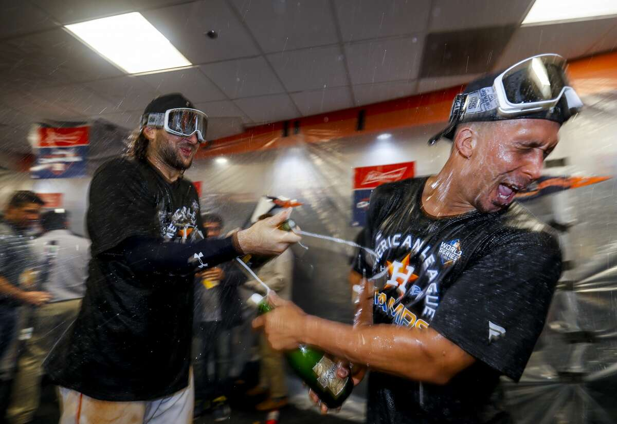 PHOTOS: Inside the Astros celebration in the clubhouse after clinching a trip to the World Series Houston Astros left fielder Michael Brantley (23) celebrates in the clubhouse after the Astros won the American League Championship Series at Minute Maid Park in Houston on Saturday, Oct. 19, 2019. Browse through the photos above for a look at the Astros' clubhouse celebration Saturday night ...