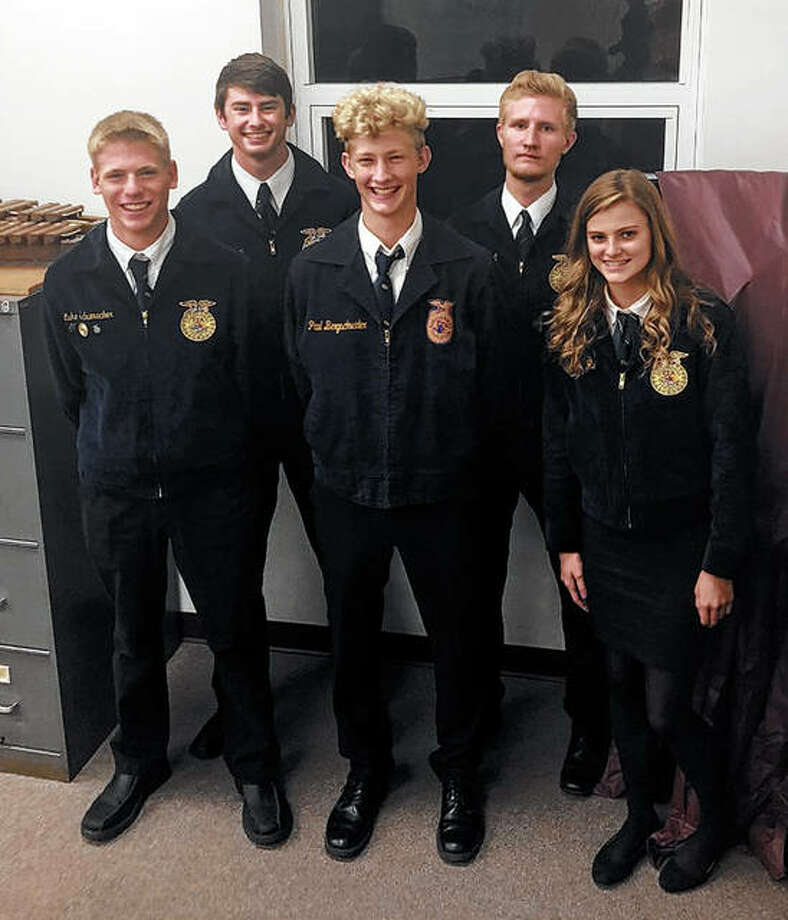 The Franklin FFA chapter traveled on Oct. 1 to Griggsville to compete in the Section 13 Ag Sales CDE. As a team, the chapter placed third. Individually, Jackson Smith took first place in sales presentation and Thad Bergschneider took second in print ad. Those attending included Lucas Schumacher (from left), Jackson Smith, Thaddeus Bergschneider, Ethan Hansell and Kaylee Ford. Photo: Photo Provided