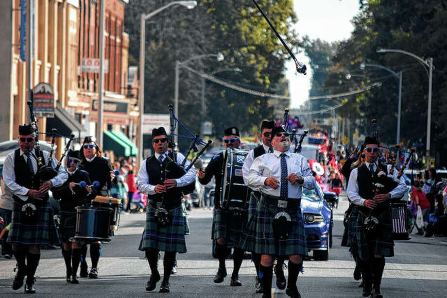 A group of bagpipe players walks in the MacMurray College homecoming parade Saturday. Photo: Samantha McDaniel-Ogletree | Journal-Courier