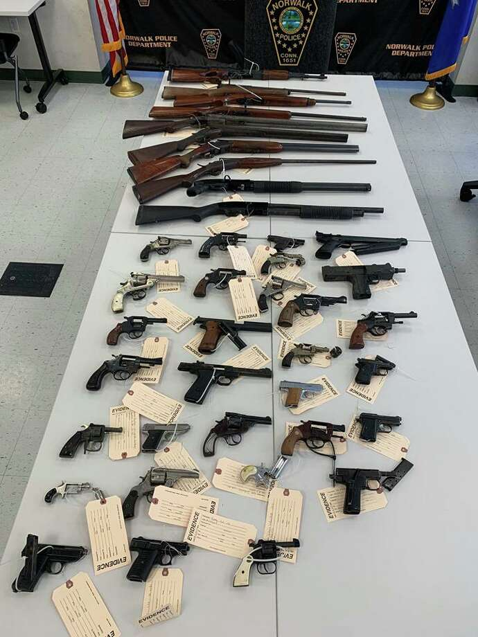 Norwalk Police department collected 42 firearms at its Community Gun Buyback on Oct. 19, 2019. Photo: Contributed Photo / Norwalk Police Department