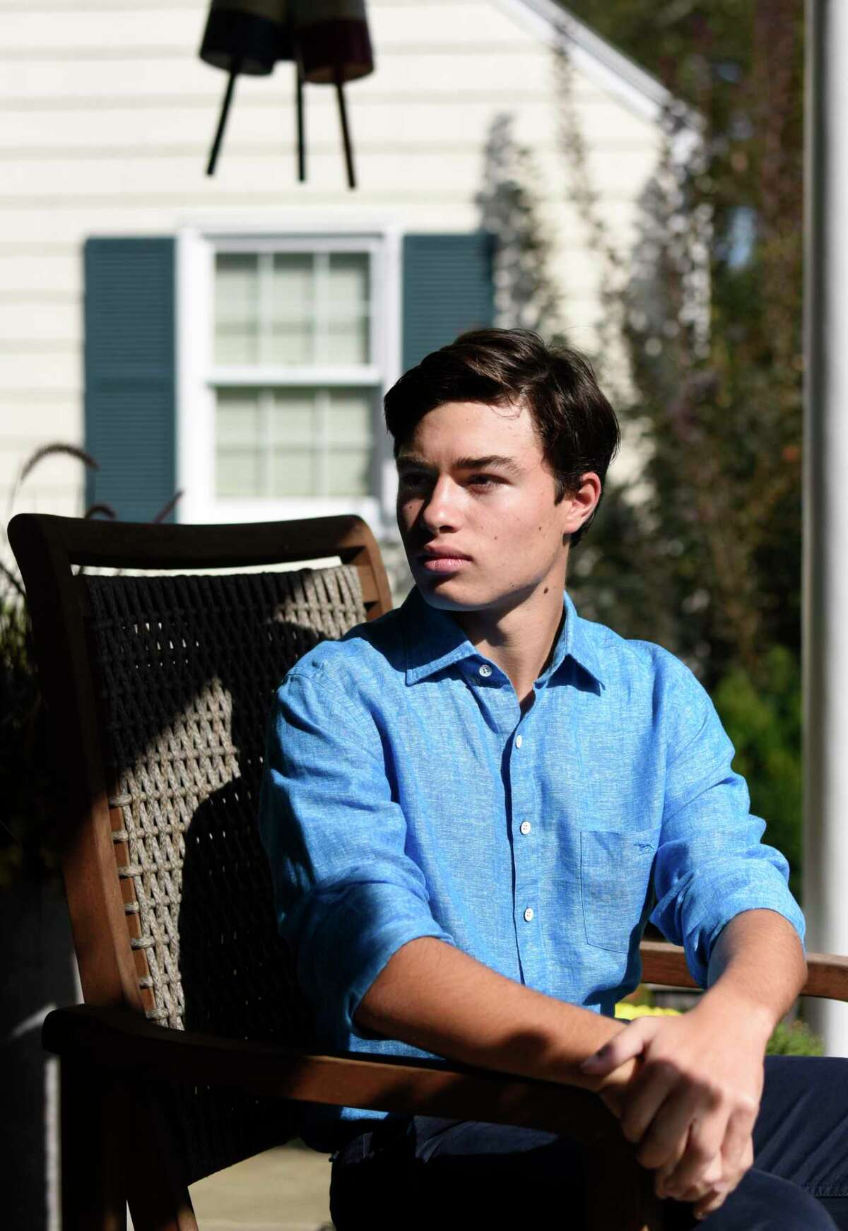 Greens Farms Academy sophomore Charles Kolin, 16, poses at his home in Old Greenwich, Conn. Sunday, Oct. 13, 2019. Kolin went from being a bullying victim to an advocate for tolerance, kindness and inclusion. He went to Washington and met with dozens of Senators and Representatives to draft a resolution of kindness that is resulting in Unity Day on Oct. 23.