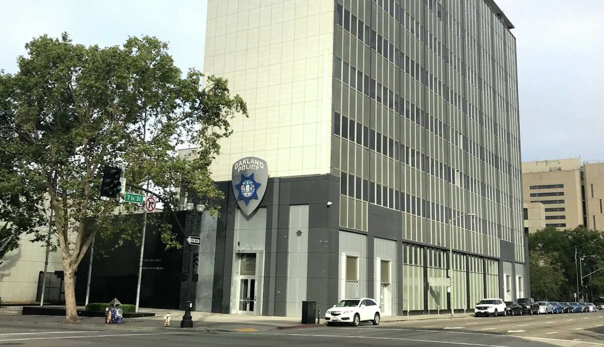 FILE - The exterior of the Oakland Police Department headquarters is seen in this July 2018 photo. A former City Councilmember said he was forcibly arrested in the city's Planning and Zoning department on Thursday. He said he intends to file a complaint with the Oakland Police Commission.