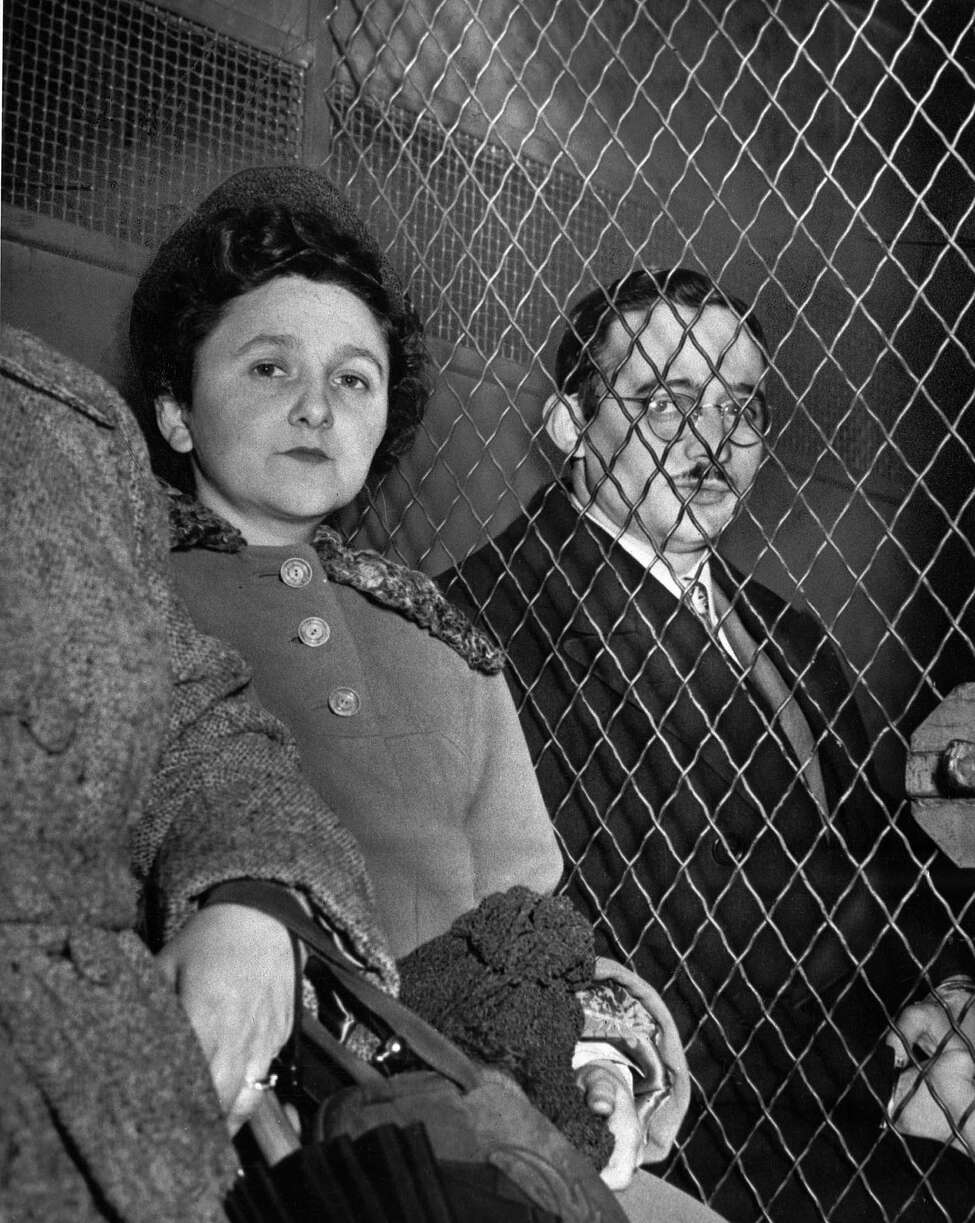 Ethel Rosenberg and her husband, Julius, are separated by a wire screen as they ride to jail in New York City March 29, 1951 following their conviction as traitors in the nation's first atom spy trial. They were accused of trying to deliver war secrets, including vital A-bomb data, to the Soviet Union. The Rosenbergs and other spies, as well as the codebreakers who uncovered them, are the subject of the NOVA documentary series 'Secrets, Lies & Atomic Spies,' airing Tuesday, Feb. 5, 2002, at 8 p.m., EST, on PBS.