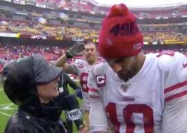 George Kittle video-bombs Jimmy Garoppolo after the 49ers' 9-0 win over Washington to start the season 6-0.