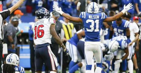Indianapolis Colts cornerback Quincy Wilson (31) celebrates his teammate's interception in the final seconds of game against against the Houston Texans at Lucas Oil Stadium on Sunday, Oct. 20, 2019 in Indianpolis. Indianapolis Colts won the game 30-23.