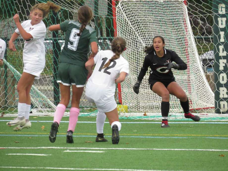 Simone Rosenberg, right, has had a strong season in goal for the Cheshire girls soccer team, helping the Rams post seven shutouts. Photo: Submitted Photo