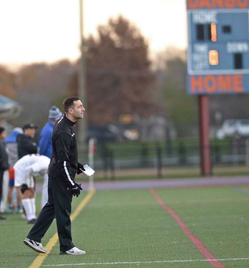 "Naugatuck head coach Ryan Kinne watches his team during the Class LL boys soccer game between Naugatuck and Danbury last season at Danbury High School. Kinne says: ""It is not the SWC, SCC or FCIAC but the top part of the conference is a talented group."" in regards to the NVL. ""Woodland is a very good team, Holy Cross is a very good team and Watertown, who we have not played yet, has some good results. The top part of our conference is talented and can compete on the state level."" Photo: H John Voorhees III / Hearst Connecticut Media / The News-Times"