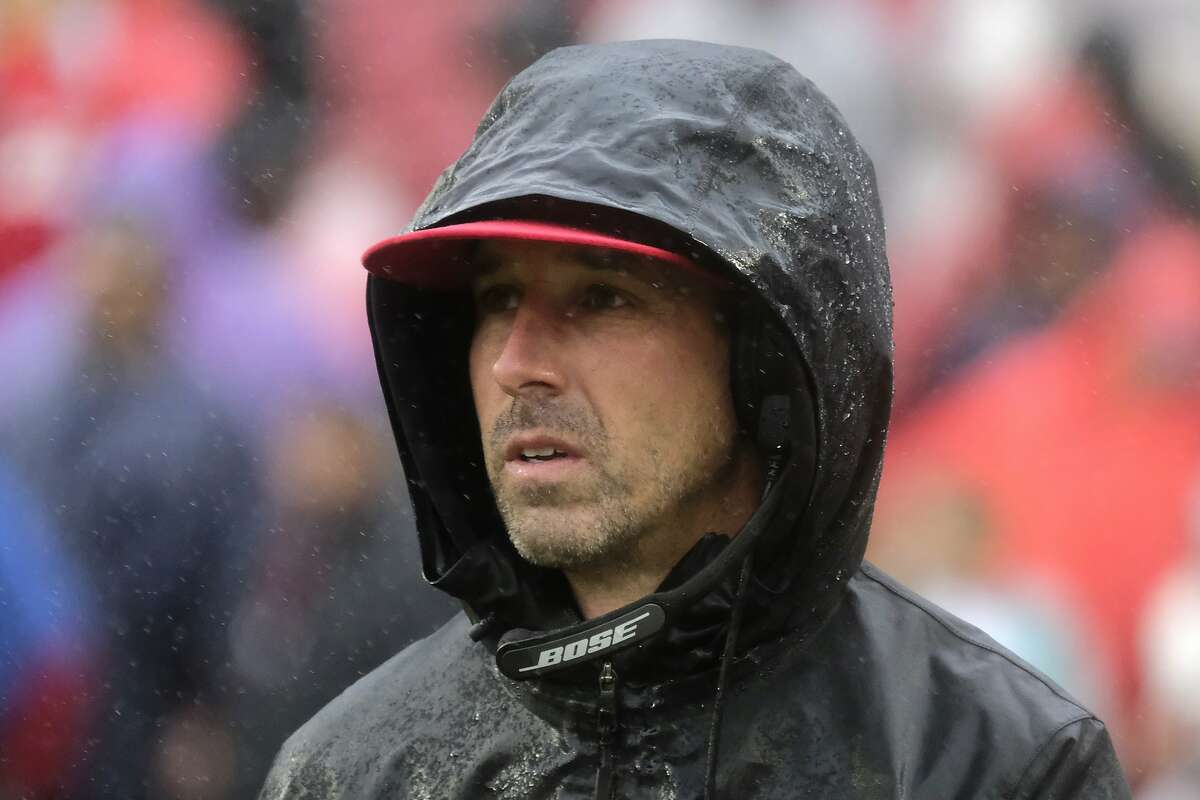 San Francisco 49ers head coach Kyle Shanahan watches the second half of an NFL football game against the Washington Redskins, Sunday, Oct. 20, 2019, in Landover, Md. (AP Photo/Mark Tenally)