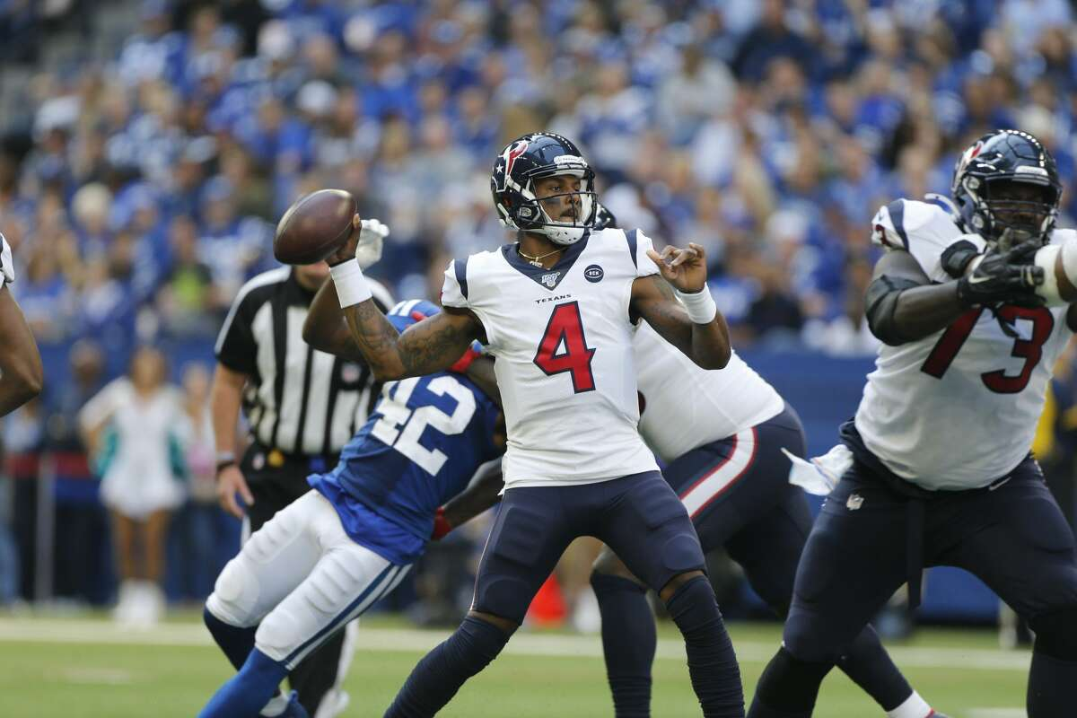 Deshaun Watson threw a pair of fourth-quarter interceptions in the Texans' loss Sunday.