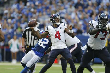 in the second half at Lucas Oil Stadium on Sunday, Oct. 20, 2019 in Houston. Indianapolis Colts won the game 30-23.