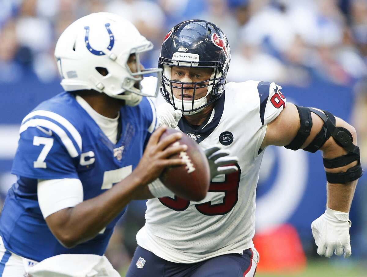 With J.J. Watt out for the season, the Texans will need to find someone to pressure Colts quarterback Jacoby Brissett, who threw four TD passes during the teams' first meeting this season.