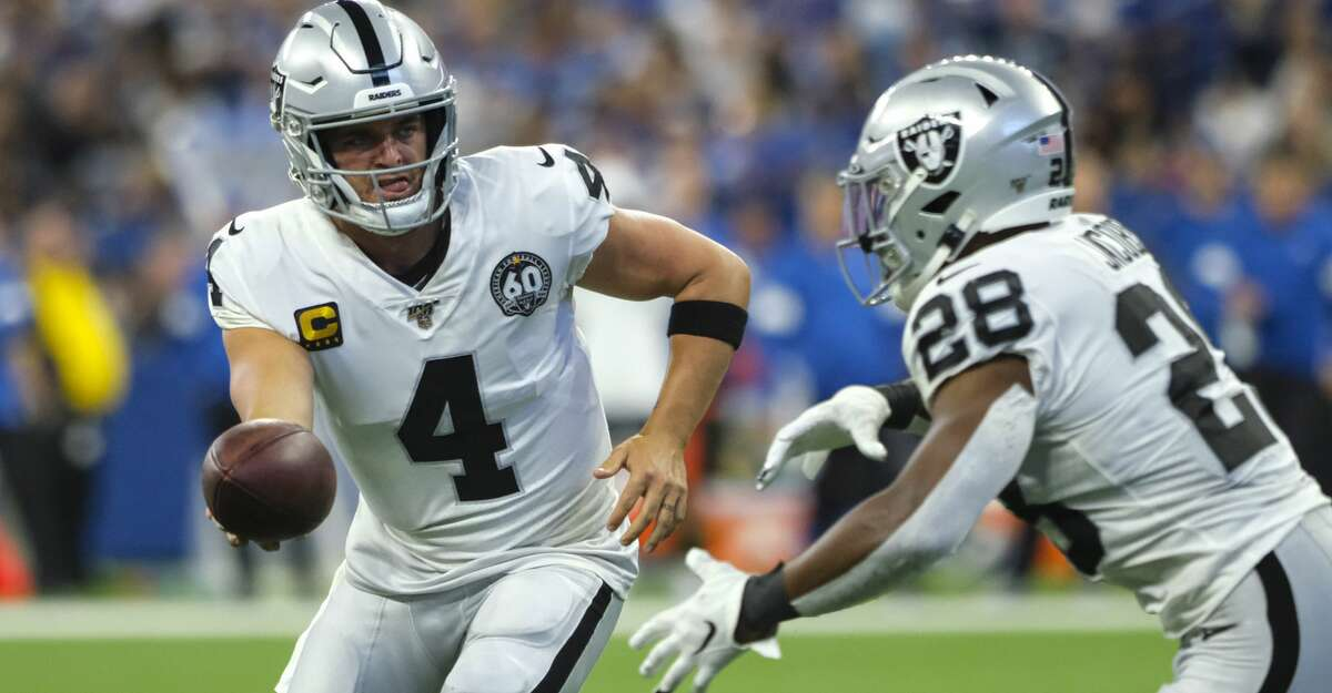 Oakland Raiders quarterback Derek Carr (4) hands off to running back Josh Jacobs (28) during the first half of an NFL football game against the Indianapolis Colts in Indianapolis, Sunday, Sept. 29, 2019. (AP Photo/AJ Mast)