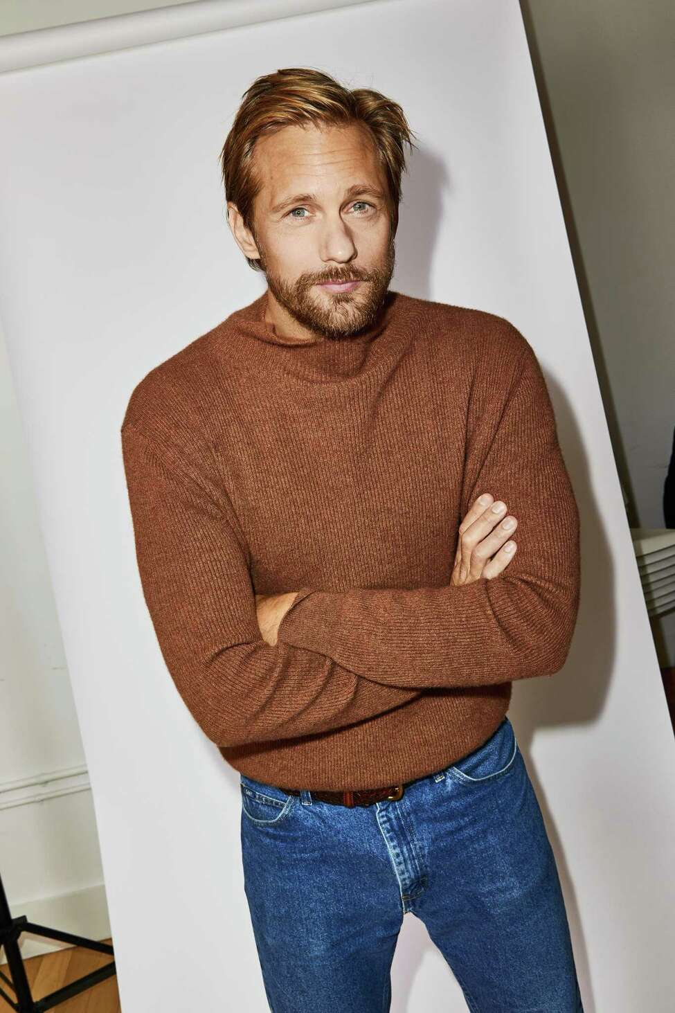 -- PHOTO MOVED IN ADVANCE AND NOT FOR USE - ONLINE OR IN PRINT - BEFORE OCT. 20, 2019. -- The actor Alexander Skarsgard in New York on Oct. 8, 2019. Skarsgard talks about his latest turn as a compelling sociopath in a€œThe Kill Teama€ and his Emmy-winning role in a€œBig Little Lies.a€ (Aaron Richter/The New York Times)