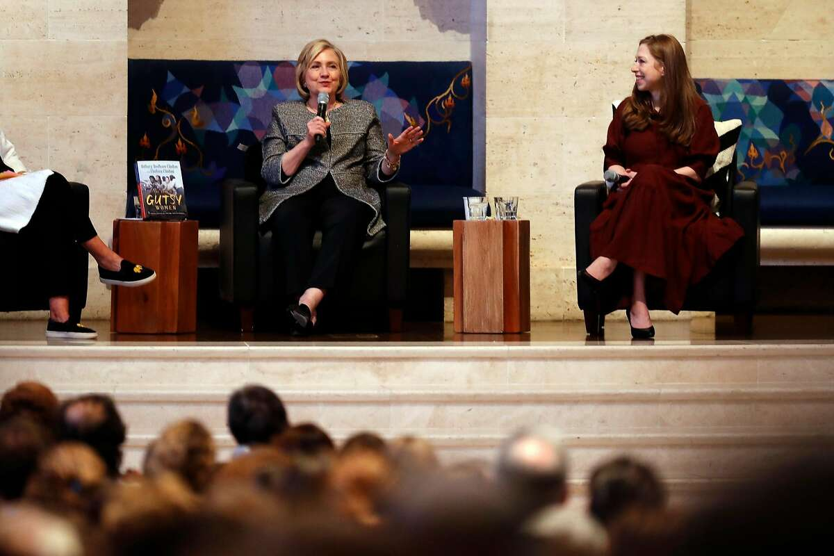 Hillary and Chelsea Clinton during book tour stop at Temple Emanu-El in San Francisco, Calif., on Sunday, October 20, 2019.