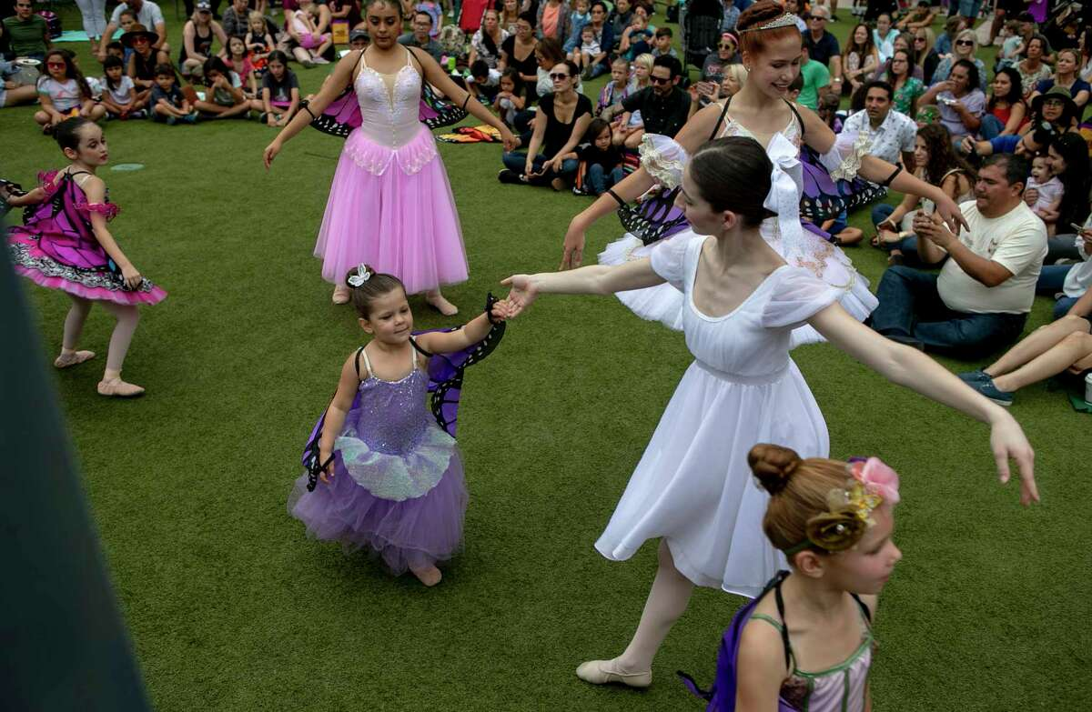 Members of the Children Ballet of San Antonio perform during 4th annual Monarch Butterfly and Pollinator Festival at the Pearl in San Antonio, Texas, Oct. 20, 2019.