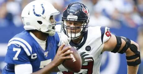 Houston Texans defensive end J.J. Watt (99) goes after Indianapolis Colts quarterback Jacoby Brissett (7) in the second half at Lucas Oil Stadium on Sunday, Oct. 20, 2019. Indianapolis Colts won the game 30-23.