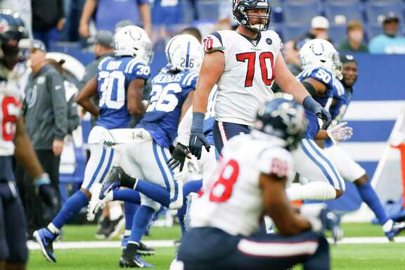Houston Texans offensive tackle Dan Skipper (70) leaves the field after an Indianapolis Colts interception in the second half at Lucas Oil Stadium on Sunday, Oct. 20, 2019 in Indianapolis. Indianapolis Colts won the game 30-23.