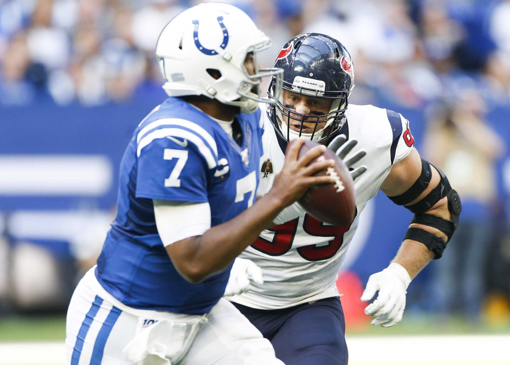 Texans had their hits on Jacoby Brissett but couldn't stop him