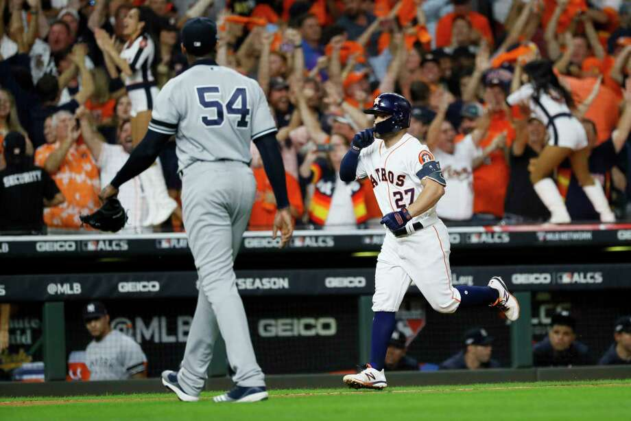 Houston Astros' Jose Altuve celebrates after a two-run walk-off, off New York Yankees pitcher Aroldis Chapman to win Game 6 of baseball's American League Championship Series against the New York Yankees on Saturday, Oct. 19, 2019, in Houston. (AP Photo/Matt Slocum) Photo: Matt Slocum / Copyright 2019 The Associated Press. All rights reserved