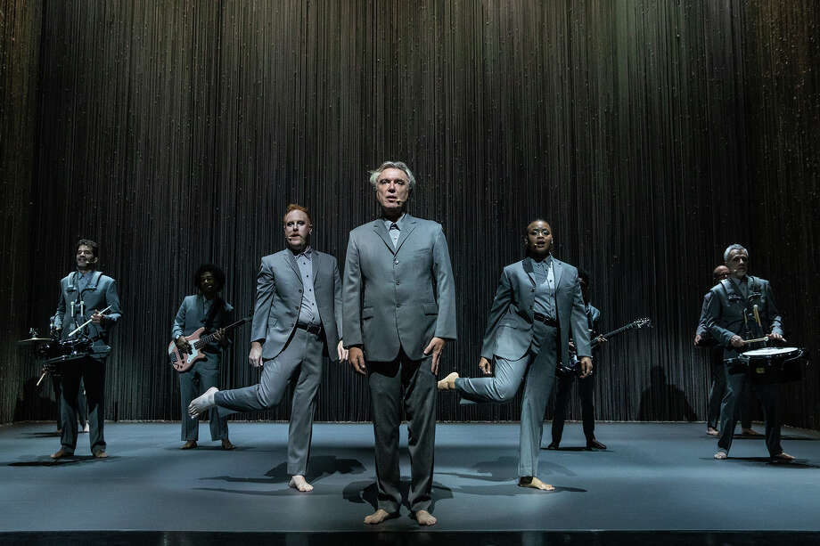 "From left, Daniel Freedman, Bobby Wooten III, Chris Giarmo, David Byrne (center), Tendayi Kuumba and Stéphane San Juan in ""American Utopia."" Photo: Matthew Murphy Courtesy Photo / Handout"
