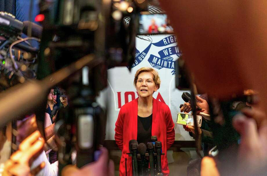 Democratic Presidential candidate Sen. Elizabeth Warren at a Warren Indianola Town Hall speaks to journalists at Simpson College in Indianola, Iowa, on Sunday October 20. Photo: Washington Post Photo By Melina Mara / The Washington Post