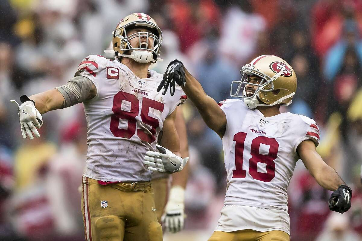 LANDOVER, MD - OCTOBER 20: George Kittle #85 and Dante Pettis #18 of the San Francisco 49ers celebrate after a first down against the Washington Redskins during the second half at FedExField on October 20, 2019 in Landover, Maryland. ~~