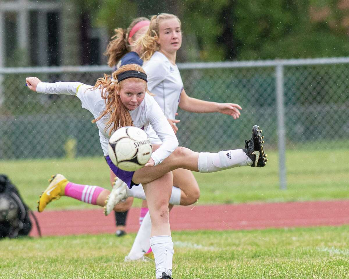 Voorheesville forward Amanda Gillenwalters passes the ball during a Colonial Council matchup against Cohoes at Cohoes High School on Sunday, Oct. 21, 2019 (Jim Franco/Special to the Times Union.)