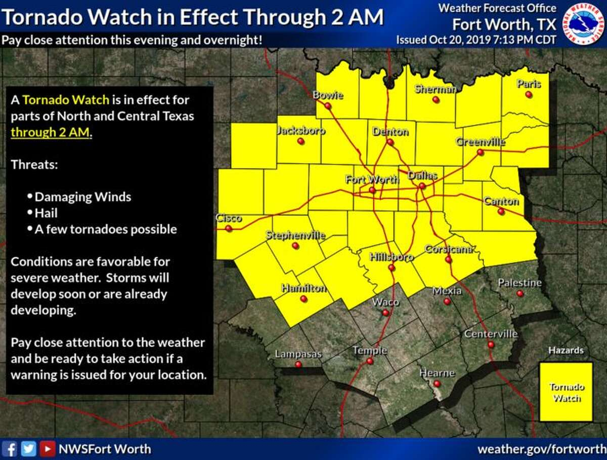A tornado watch remains in effect for north and central Texas through 2 a.m.