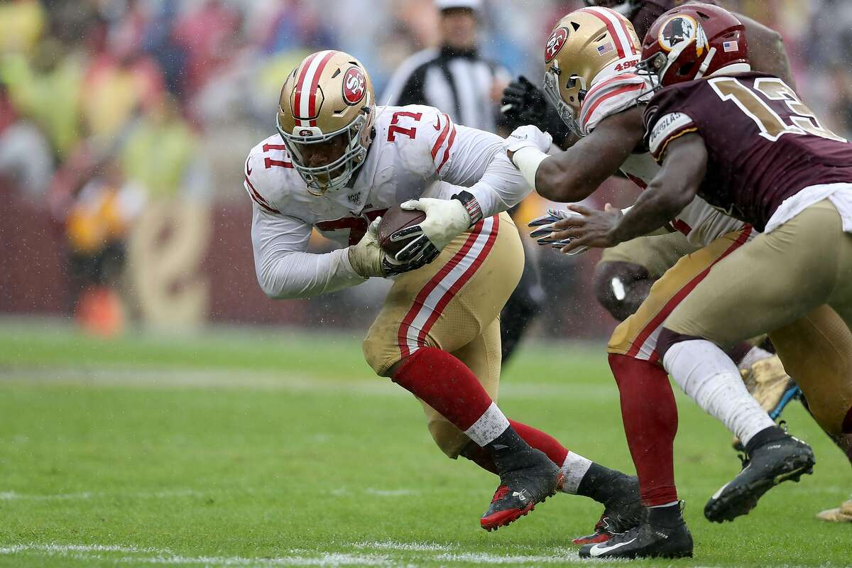 LANDOVER, MARYLAND - OCTOBER 20: Jullian Taylor #77 of the San Francisco 49ers recovers a second half fumble against the Washington Redskins at FedExField on October 20, 2019 in Landover, Maryland. (Photo by Rob Carr/Getty Images)
