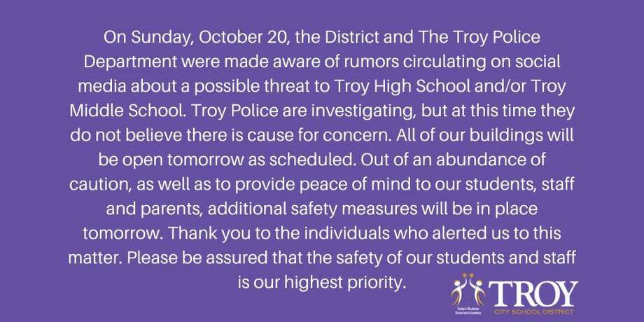 A statement the Troy City School District released on Sunday evening. Photo: Troy City Schools