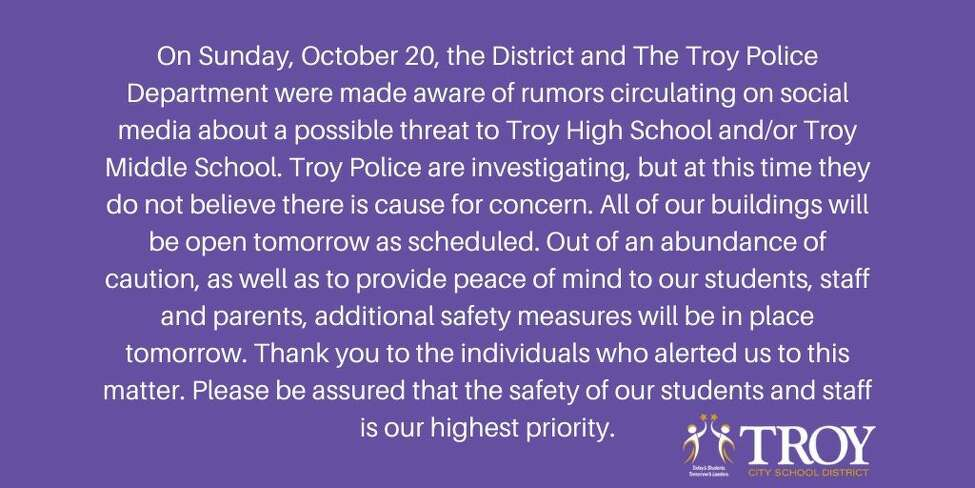 A statement the Troy City School District released on Sunday evening.