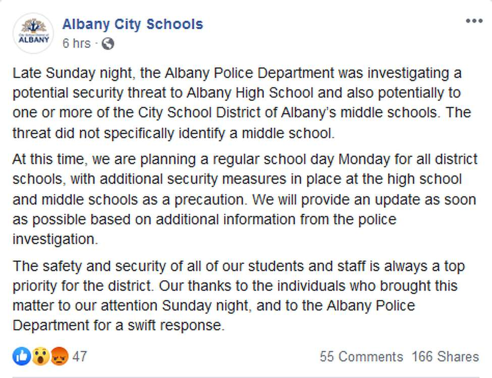 The statement the Albany School District released after receiving unspecified threats.