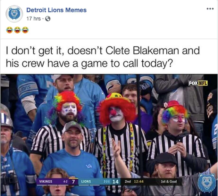 Fans react to the Detroit Lions' loss on Sunday, Oct. 20, 2019 to the Minnesota Vikings. Photo: Facebook/Detroit Lions Memes
