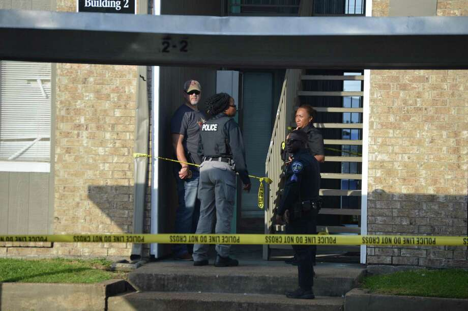 Port Arthur Police investigate the shooting death of man at Avery Trace Apartments on Friday. Photo: Photo Provided By Eric Williams