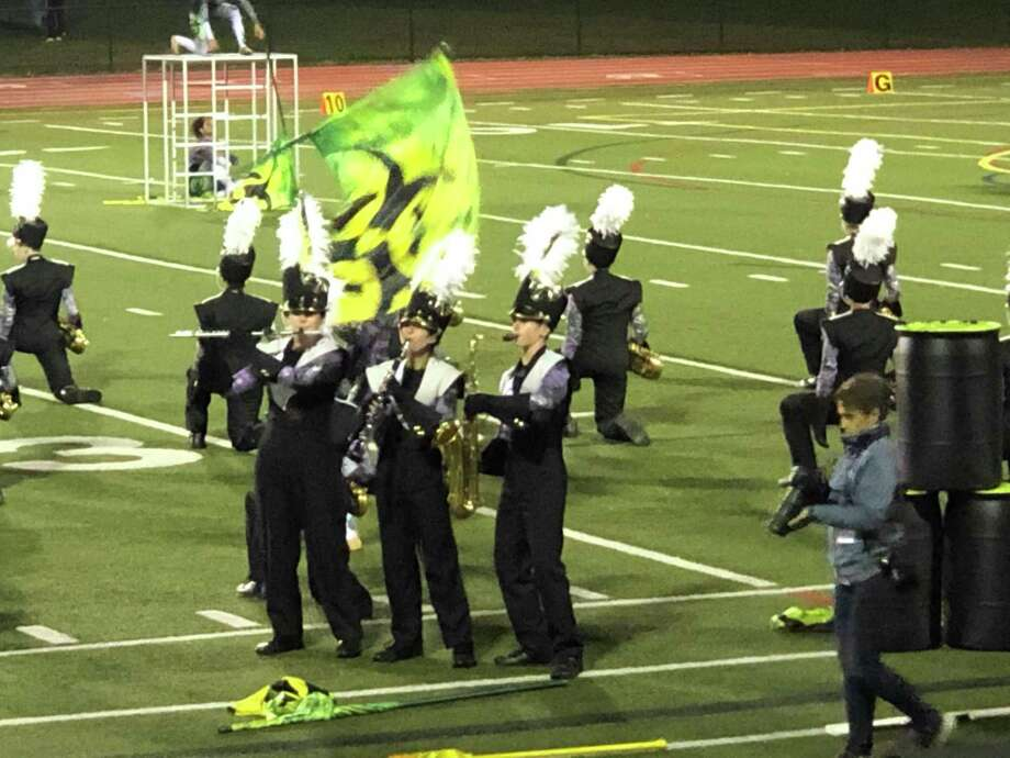 The Trumbull High School Golden Eagles Marching Band (THSGEMB) took first place in Class V Open competition this past Saturday at Southington High School's Music of the Knight event. With a season-high score of 90.5, they also won the captions of best music, effect, visuals, colorguard, and percussion. The THSGEMB competes in the U.S. Bands Open Class New England State Championship on Saturday, Oct. 26, at Naugatuck High School. Performance time is scheduled for 8:15 p.m. For more information, visit trigonroad.com/yea/eventDetail.cfm?searchState=&ventID=2147 Photo: Contributed Photos