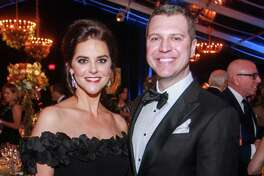 EMBARGOED FOR SOCIETY REPORTER UNTIL OCT. 24 Ann and Jonathan Ayre at the Houston Grand Opera Opening Night Gala Dinner at the Wortham Theater Center in Houston on October 18, 2019.