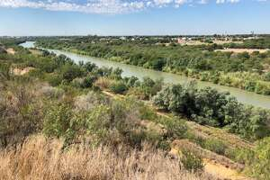 The Sacred Heart Children's Home property goes right up to the Rio Grande. Shown is a view of the river from the base of a Border Patrol tower on their land.